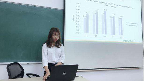 Sinh viên Đỗ Thị Thúy đang trình bày kết quả nghiên cứu